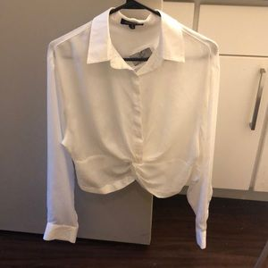 White, cropped blouse.